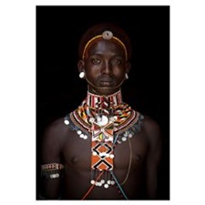 Kenya, Portrait of young Samburu man (Moran) in tr