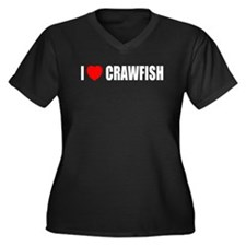 I Love Crawfish Women's Plus Size V-Neck Dark T-Sh