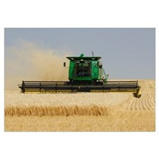 Combine Working A Field On The Prairies, Southern