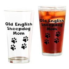 Old English Sheepdog Mom Drinking Glass