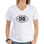 Serbia Intl Oval Women's V-Neck T-Shirt