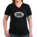 Serbia Intl Oval Women's V-Neck Dark T-Shirt