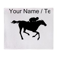 Custom Horse Racing Silhouette Throw Blanket