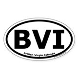British Virgin Islands Oval Sticker with &quot;BVI&quot;