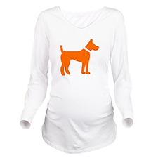 dog orange 1 Long Sleeve Maternity T-Shirt