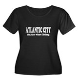 Atlantic City Women's Plus Size Scoop Neck Dark T-