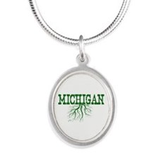Michigan Roots Silver Oval Necklace