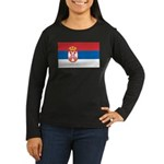 Serbia Flag Women's Long Sleeve Dark T-Shirt