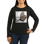 Brown Teager Pigeon Women's Long Sleeve Dark T-Shi