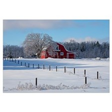 Red barn in winter, Waterloo, Quebec, Canada