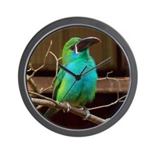 Perched Green Bird Wall Clock