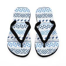Tribal Blue Pattern Flip Flops