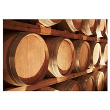 Wine Barrels Stacked On Shelves, Niagara, Ontario,