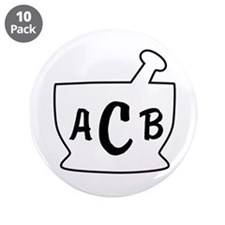 "Personalized Mortar and Pest 3.5"" Button (10 pack)"