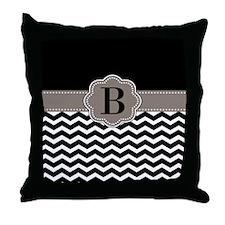 Black Chevron Monogram Throw Pillow