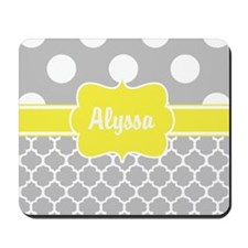 Gray Yellow Dots Quatrefoil Personalized Mousepad