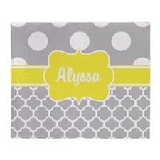 Gray Yellow Dots Quatrefoil Personalized Throw Bla