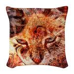 Wood Cat Woven Throw Pillow