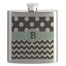 Black Mint Green Dots Chevron Monogram Flask