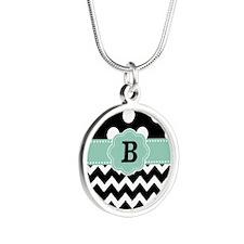 Black Mint Green Dots Chevron Monogram Necklaces