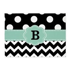 Black Mint Green Dots Chevron Monogram 5'x7'Area R