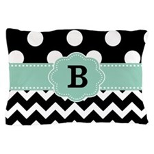 Black Mint Green Dots Chevron Monogram Pillow Case