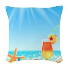 Beach Vacation Woven Throw Pillow