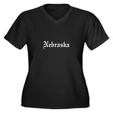 Nebraska Women's Plus Size V-Neck Dark T-Shirt