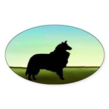 Grassy Field Collie Oval Decal