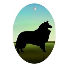 Grassy Field Collie Oval Ornament