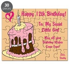 Happy 12th Birthday Card Puzzle From Daddy