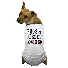 Pugs & Kisses Black Text Stacked Dog T-Shirt