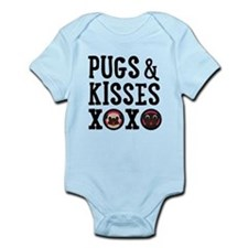 Pugs & Kisses Black Text Stacked Body Suit