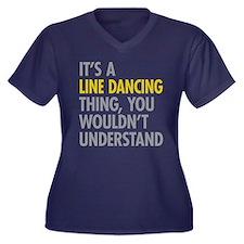 Line Dancing Women's Plus Size V-Neck Dark T-Shirt