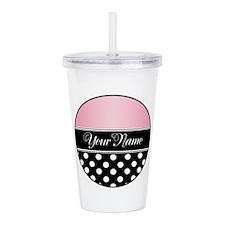 Black Polka Dot Pink Acrylic Double-Wall Tumbler