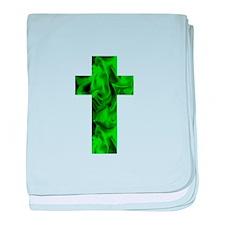 Green Irish Catholic Crucifix St. Pat baby blanket