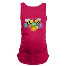Bumble Bees Flowers Design Maternity Tank Top