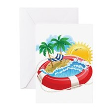 Beach Pool Greeting Cards
