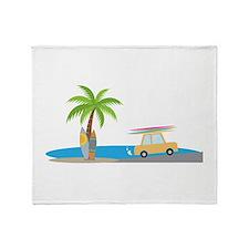 Surfer Beach Throw Blanket