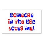Someone in the USA Loves Me Rectangle Sticker