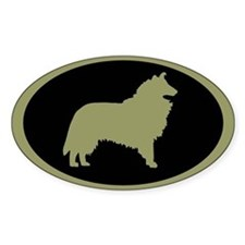 Sage & Black Collie Oval Decal
