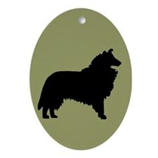 Sage & Black Collie Oval Ornament