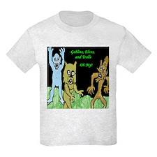 Kids Ash Gray T-Shirt-Gremlins, Elves, and Trolls.