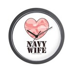 Navy Wife Pink Camo Heart Wall Clock