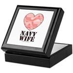 Navy Wife Pink Camo Heart Keepsake Box