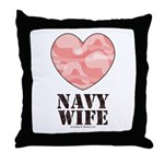 Navy Wife Pink Camo Heart Throw Pillow