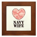Navy Wife Pink Camo Heart Framed Tile