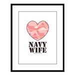 Navy Wife Pink Camo Heart Large Framed Print