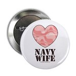 Navy Wife Pink Camo Heart Button