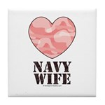 Navy Wife Pink Camo Heart Tile Coaster